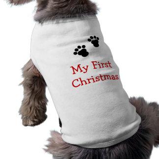 Mi primera camisa del perro del navidad playera sin mangas para perro