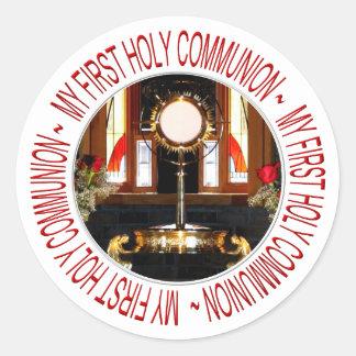 Mi primera comunión santa pegatina redonda