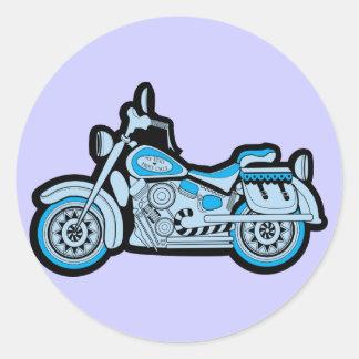 Mi primera motocicleta azul pegatina redonda