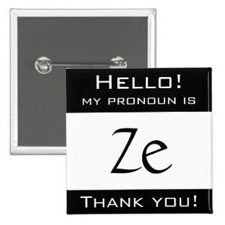 Mi pronombre es ZE Pin Cuadrada 5 Cm