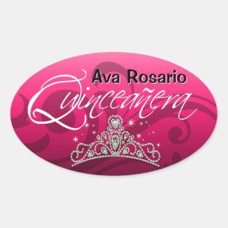 Mi Quinceañera Sparkling Tiara (fuschia) Party Stickers