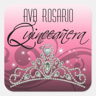 Mi Quinceañera Sparkling Tiara (pink) Party Square Stickers