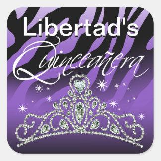 Mi Quinceañera Sparkling Tiara Zebra Stickers