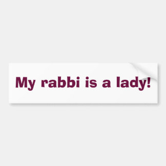 ¡Mi rabino es una señora! Pegatina Para Auto