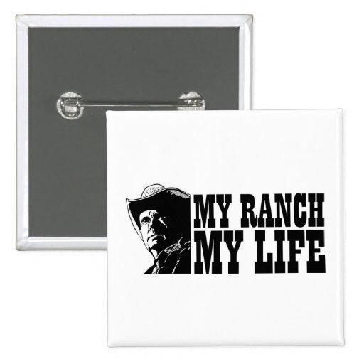 Mi rancho mi vida, regalo para un granjero o ranch pin cuadrado