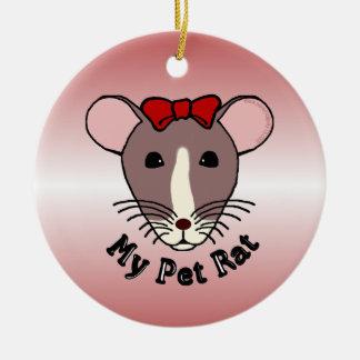 Mi rata del mascota (arco de w/Red) Adorno Navideño Redondo De Cerámica