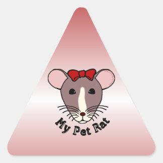 Mi rata del mascota (arco de w/Red) Pegatina Triangular