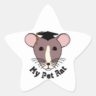 Mi rata del mascota (graduado) pegatina en forma de estrella