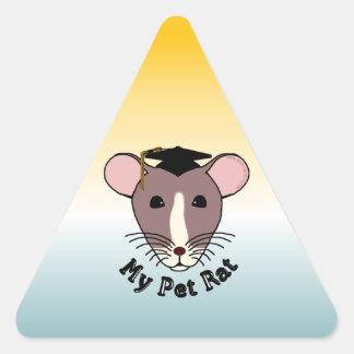 Mi rata del mascota (graduado) pegatina triangular