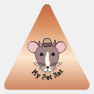 Mi rata del mascota (vaquero) pegatina triangular