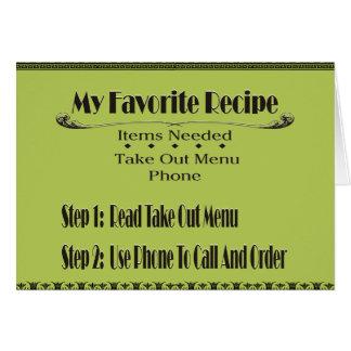 mi receta preferida tarjeta de felicitación