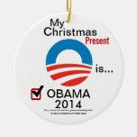 Mi regalo de Navidad es Obama 2014 con el logotipo Ornamento De Reyes Magos