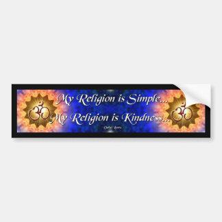 Mi Religiom es pegatina para el parachoques simple Etiqueta De Parachoque