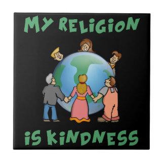 Mi religión es amabilidad azulejo cuadrado pequeño