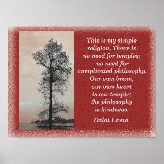 Mi religión simple - cita de Dalai Lama - Póster