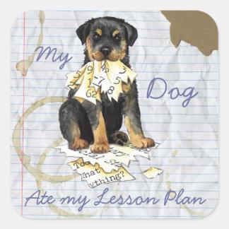 Mi Rottweiler comió mi plan de lección Calcomanías Cuadradas