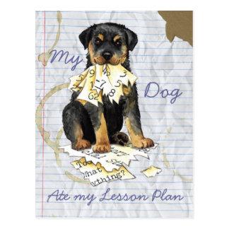 Mi Rottweiler comió mi plan de lección Tarjeta Postal