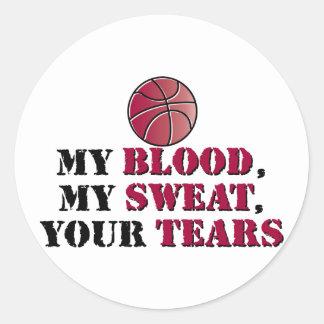 Mi sangre, mi sudor, sus rasgones - baloncesto pegatina redonda