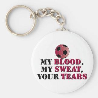 Mi sangre, mi sudor, sus rasgones - fútbol llavero redondo tipo pin