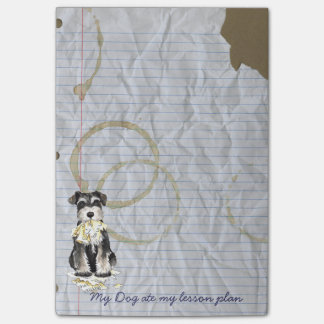 Mi Schnauzer miniatura comió mi plan de lección Notas Post-it