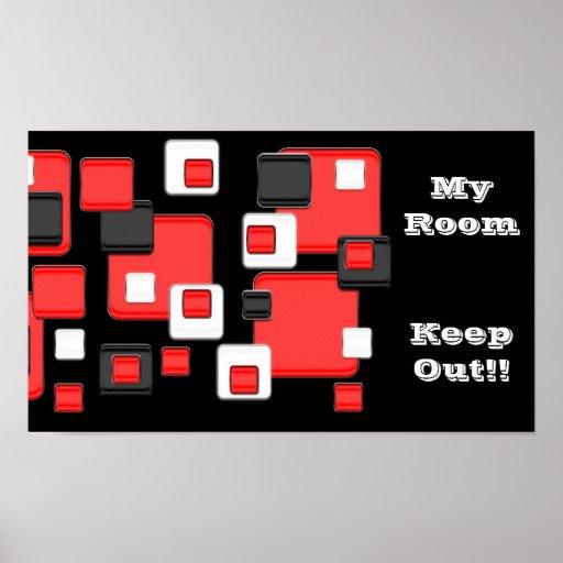 Mi sitio, guarda hacia fuera, rojo, negro, cuadrad póster