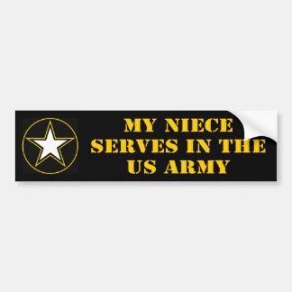 Mi sobrina desempeña servicios en el ejército pegatina de parachoque