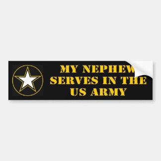 Mi sobrino desempeña servicios en el ejército pegatina de parachoque