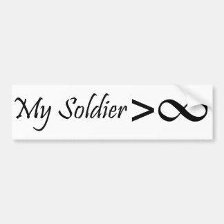 ¡Mi soldado es mayor que infinito!! Pegatina Para Auto