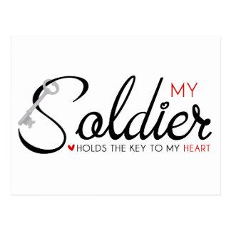 Mi soldado lleva a cabo la llave a mi corazón postales