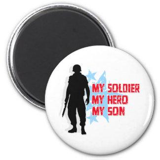 Mi soldado, mi héroe, mi hijo imán redondo 5 cm