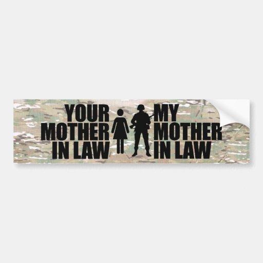 Mi suegra está en los militares pegatina para auto