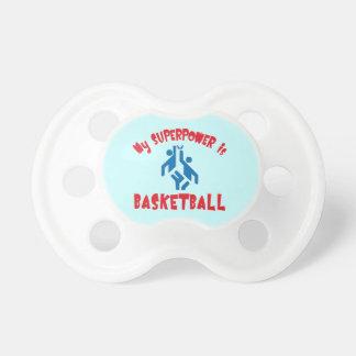 Mi superpotencia es baloncesto chupetes de bebe