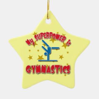 Mi superpotencia es gimnasia adorno de cerámica en forma de estrella