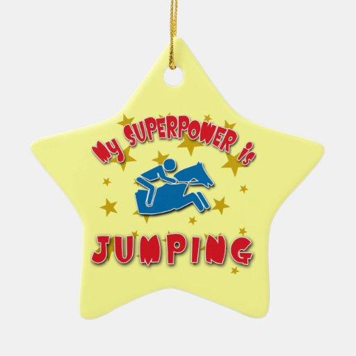 Mi superpotencia es salto del caballo adorno navideño de cerámica en forma de estrella