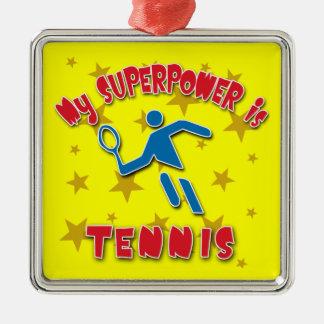 Mi superpotencia es tenis adorno navideño cuadrado de metal
