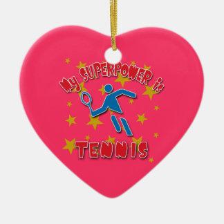 Mi superpotencia es tenis adorno navideño de cerámica en forma de corazón