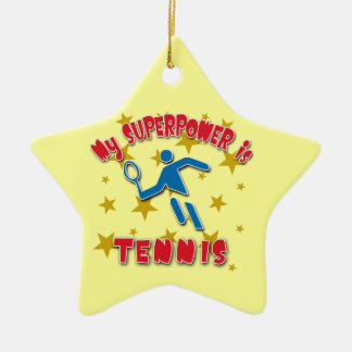 Mi superpotencia es tenis adorno navideño de cerámica en forma de estrella