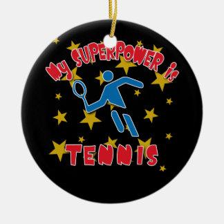 Mi superpotencia es tenis adorno navideño redondo de cerámica
