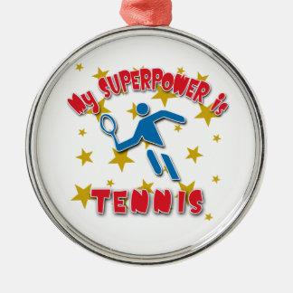 Mi superpotencia es tenis adorno navideño redondo de metal