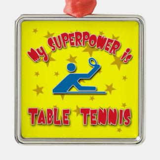 Mi superpotencia es tenis de mesa adorno navideño cuadrado de metal