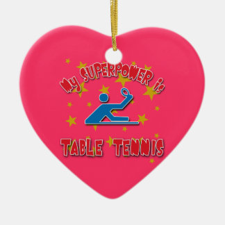 Mi superpotencia es tenis de mesa adorno navideño de cerámica en forma de corazón