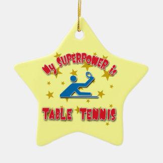 Mi superpotencia es tenis de mesa adorno navideño de cerámica en forma de estrella