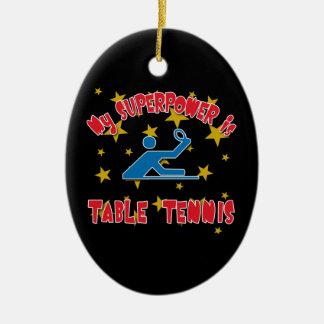 Mi superpotencia es tenis de mesa adorno navideño ovalado de cerámica