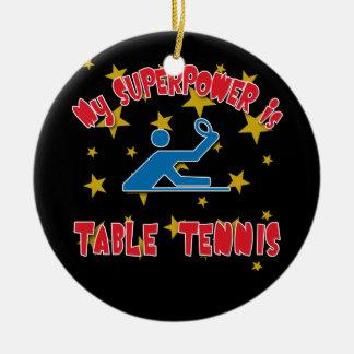 Mi superpotencia es tenis de mesa adorno navideño redondo de cerámica