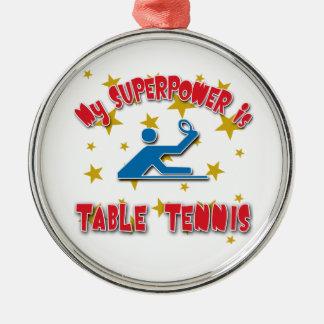 Mi superpotencia es tenis de mesa adorno navideño redondo de metal