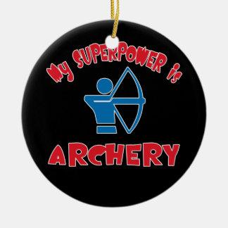 Mi superpotencia es tiro al arco adorno navideño redondo de cerámica