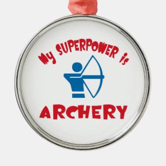 Mi superpotencia es tiro al arco adorno navideño redondo de metal