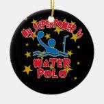 Mi superpotencia es water polo adorno navideño redondo de cerámica