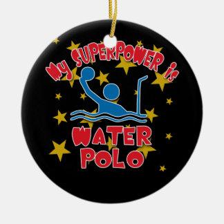 Mi superpotencia es water polo adorno redondo de cerámica