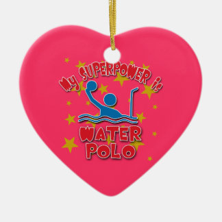 Mi superpotencia es water polo adorno de cerámica en forma de corazón
